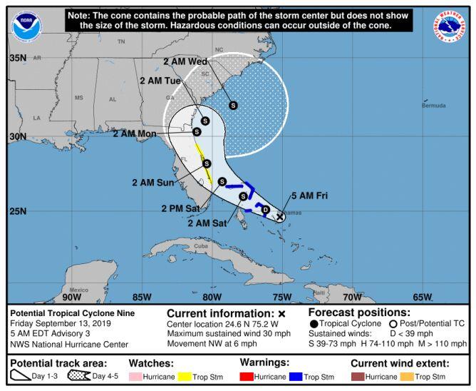 Prognozowana trasa potencjalnej burzy tropikalnej (NHC)