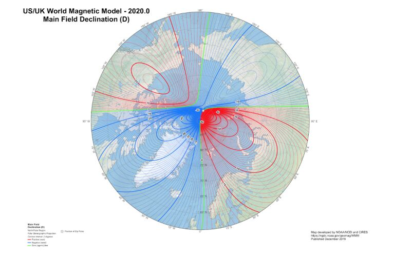 Model ziemskiego pola magnetycznego (NOAA/NCEI/CIRES)
