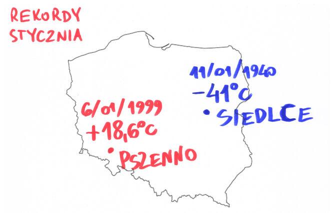 Styczniowe rekordy temperatury w Polsce