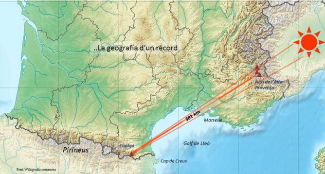 Odległość między obserwatorem, a zaobserwowanymi odległymi szczytami