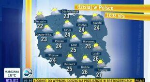 Sytuacja burzowa nad Polską (TVN24)